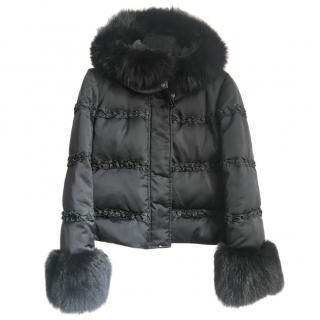 Sportmax fur collared hood and cuffs jacket