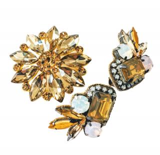 Deepa Gurnani Crystal Earrings and Hair Accessory