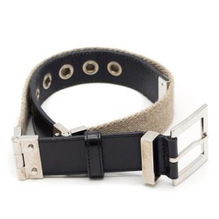 Dolce & Gabbana Black Leather/Canvas Belt