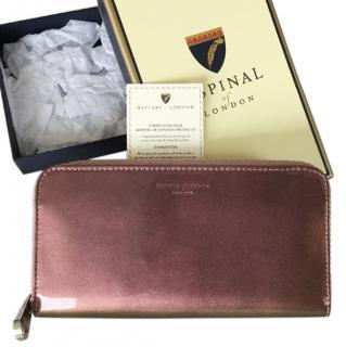 Aspinal rose gold patent purse