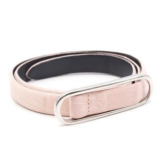 Oscar de la Renta Pink Belt With Silver Hardware