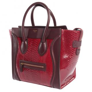 Celine Luggage bordeaux and red python bag
