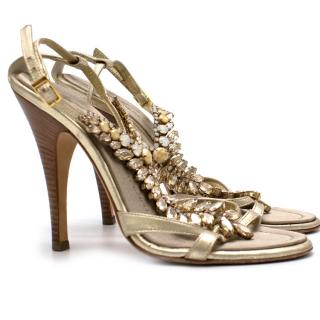 Giuseppe Zanotti Gold Crystal Embellished Sandals