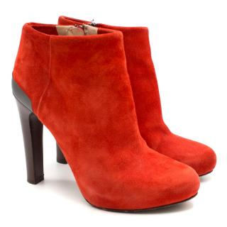 Fendi Red Suede Ankle Boots