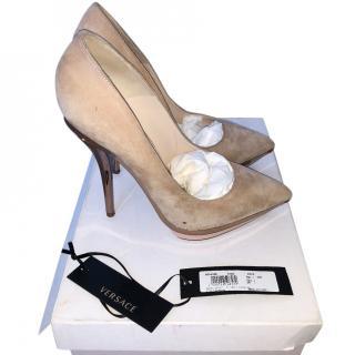 Versace Decollete Suede High Heel Pumps