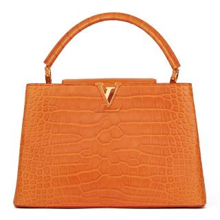 Louis Vuitton Orange Alligator Capucines MM Bag