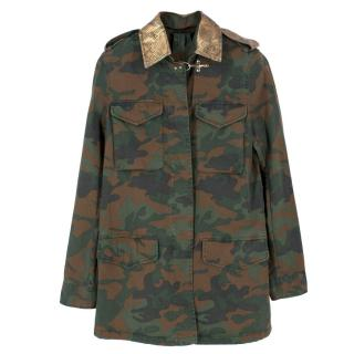 Fay Camouflage Military Jacket With Gold Snake Print Collar