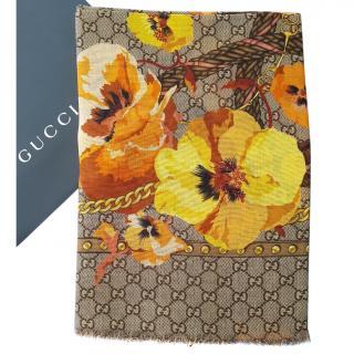 GUCCI Floral Wool Scarf