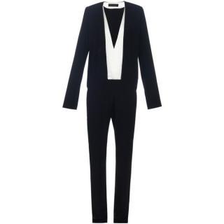 Haider Ackermann V-neck bi-colour crepe jumpsuit