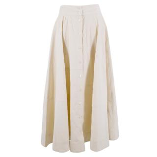 Lisa Marie Fernandez Cream Corduroy Midi Skirt