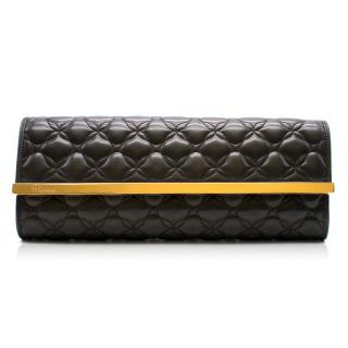Chopard Imperial Black Quilted Clutch With Gold Hardware