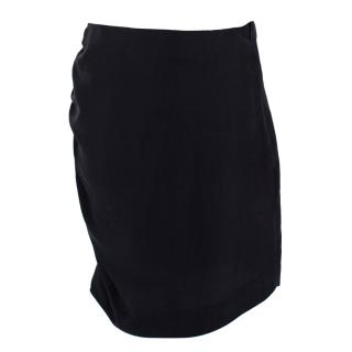 Lanvin Silk Gathered Pencil Skirt