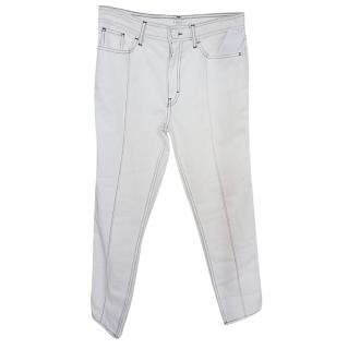 Sandro cropped white high waisted jeans
