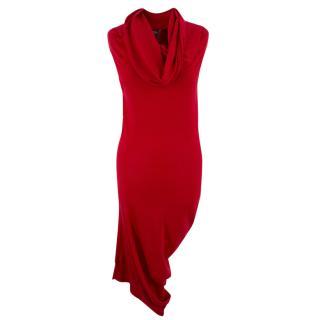 Alexander McQueen Red Cashmere Draped Dress