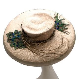 JoJo Woven Straw Hat With Peacock Feathers