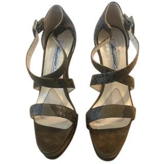 Brian Atwood Python Print Sandals