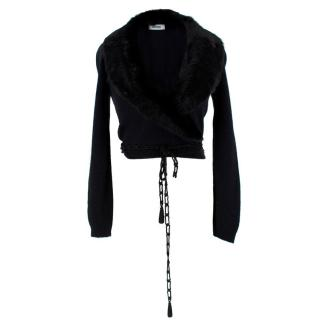 Moschino Wool & Cashmere Fur Trim Cropped Cardigan