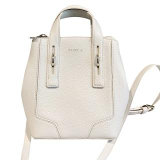Furla White Pebbled Leather Crossbody Bag