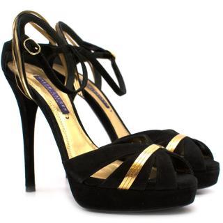 Ralph Lauren Jerala Suede Black & Gold Heeled Pumps