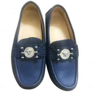 Young Versace boys navy blue loafers