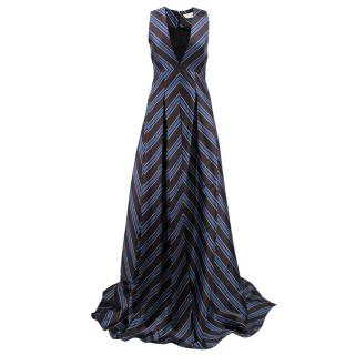 Sachin & Babi Amrita Pleated Striped Satin-Twill Gown