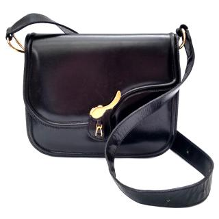 Celine Vintage Black Leather Saddle Style Shoulder Bag