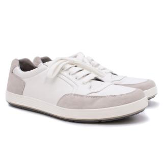 Prada Men's Plume Calf Leather With Suede Low-Top Sneaker