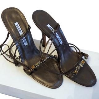 Manolo Blahnik Bronze Jewelled Sandals