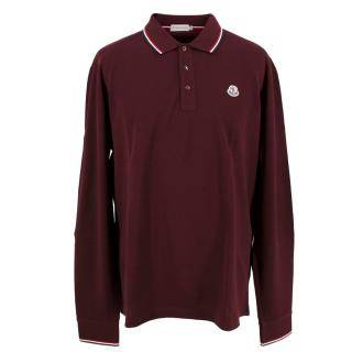 Moncler Men's Burgundy Long Sleeve Polo