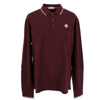 Moncler Men's Burgundy Long Sleeve Polo