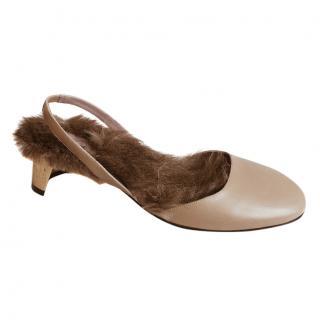 Gucci Arielle Gold Heel Fur Sandals