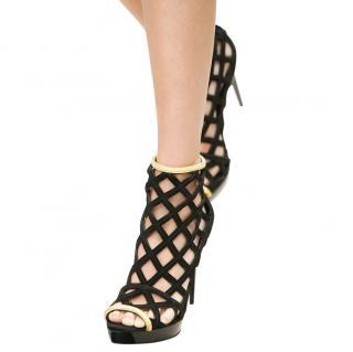 Burberry Prorsum RUNWAY Black Suede Sandals WITH Gold Trim