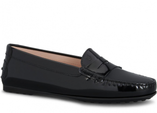 Tod's black patent loafers
