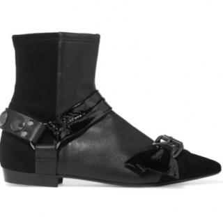 Isabel Marant Reidya Patent-Paneled Leather and Seude Ankle Boots
