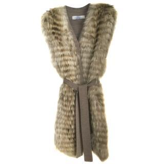 Pintadera Raccoon fur sleeveless vest