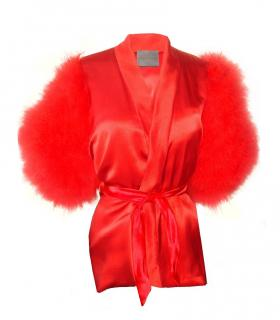 Maguy de Chadirac Ruby Red Marabou Feather Pyjama Top