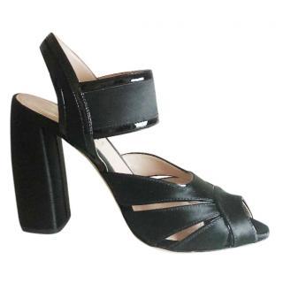 Miu Miu Black Satin Block Heel Sandals