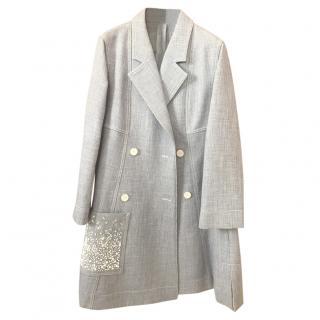 Christian Dior Cruise Collection Sky Blue Glass Bead Embellished Coat