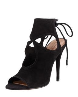 Aquazzura Sexy Thing black cutout suede sandals
