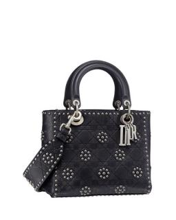 DIOR LADY DIOR bag in studded black calfskin
