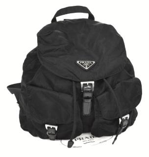 Prada Logos Nylon Backpack Bag Black