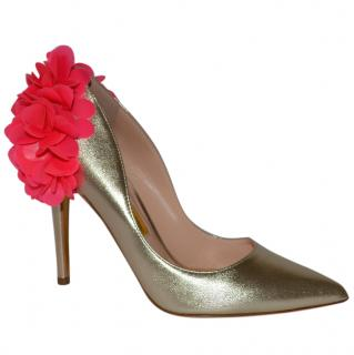 Rupert Sanderson Rio Rita Nappa Platinum and Pink Pumps