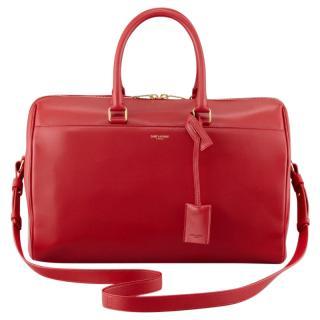 SAINT LAURENT  Medium Red Leather Duffle Bag