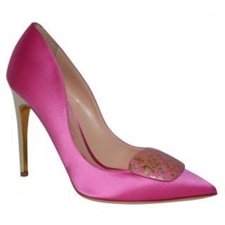 Rupert Sanderson Pink Satin Pebble Pumps
