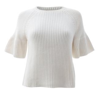 P.A.R.O.S.H. Peplum Sleeve Ribbed Cotton Sweater