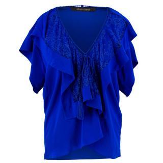 Roberto Cavalli Lace floral Silk Blouse Top