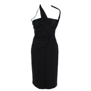 Versace 100% Silk Crystal Embellished Black Dress