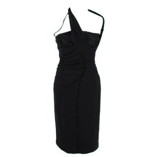 Versace 100% Silk Crystal Embellished Black Dress