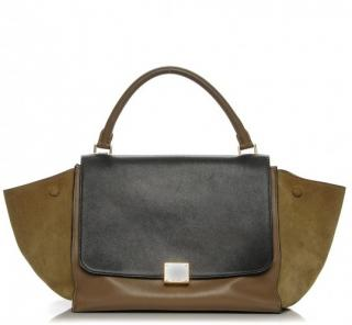 Celine Tricolor Calfskin Leather and Suede Medium Trapeze Bag