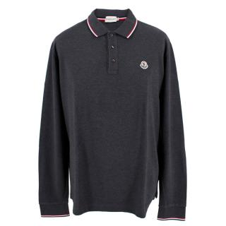 Moncler Men's Dark Grey Long Sleeve Polo